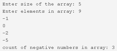 C Program To Count Number Of Negative Elements In Array