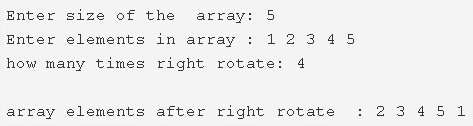 c program right rotate an array