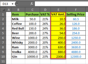 java code for VAT